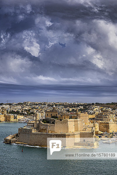 Malta  Birgu  Fort St. Angelo und Grand Harbour