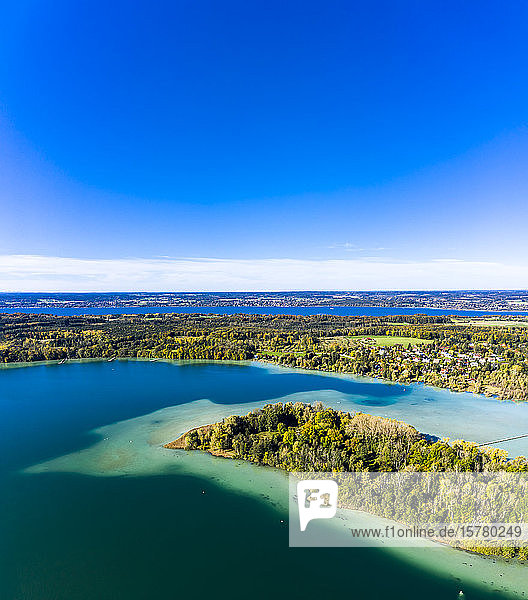 Germany  Bavaria  Bachern  Stranberg district  Aerial view of Worth lake with the Worth island (also called Mausinsel)