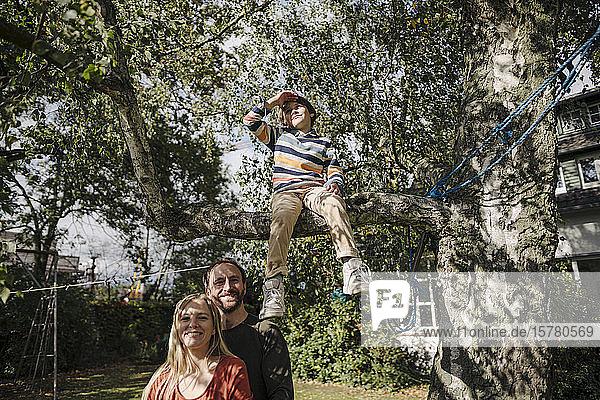 Sohn sitzt auf einem Baum im Garten  während die Eltern ihn beobachten