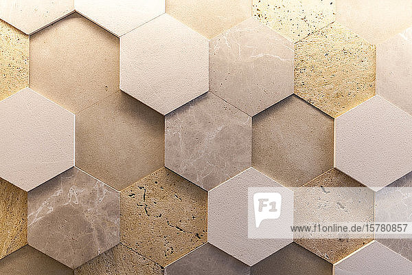 Close-up of geometric natural stone wall