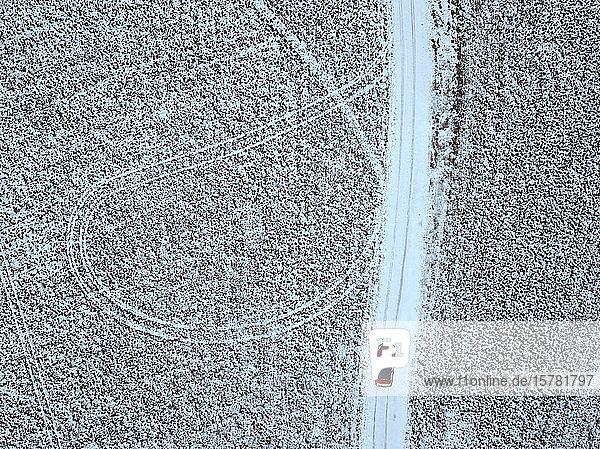 Russland  Oblast Moskau  Luftaufnahme eines Autos  das auf einer Landstraße an schneebedeckten Feldern vorbeifährt