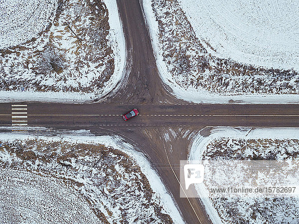 Russia  Moscow region  Aerial view of crossroad and snow covered fields