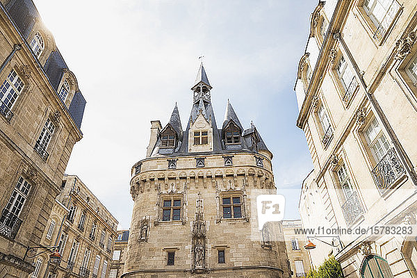 France  Gironde  Bordeaux  Porte Cailhau medieval gate standing between old town residential buildings