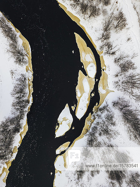 Russia  Leningrad Region  Tikhvin  Aerial view of Tikhvinka river in Winter