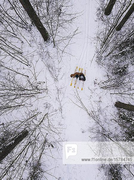 Luftaufnahme eines Paares mit Skiern im Wald  Gebiet Leningrad  Russland