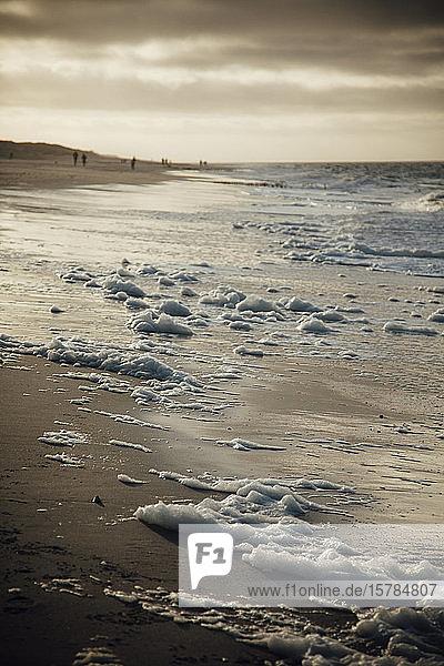Deutschland  Schleswig-Holstein  Sandstrand der Insel Sylt in der Abenddämmerung