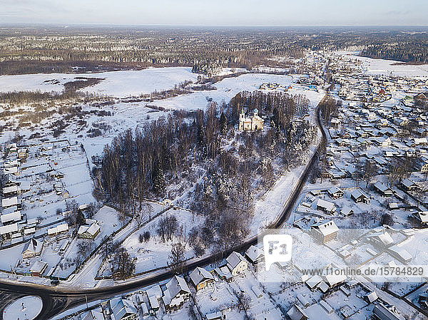 Russia  Leningrad Region  Tikhvin  Aerial view of Tikhvin in Winter