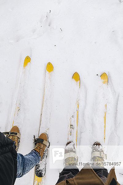Schnittansicht eines Paares auf Skiern