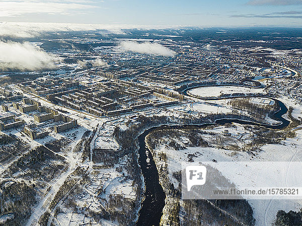 Russia  Leningrad Region  Tikhvin  Aerial view of Tikhvinka river and city in Winter
