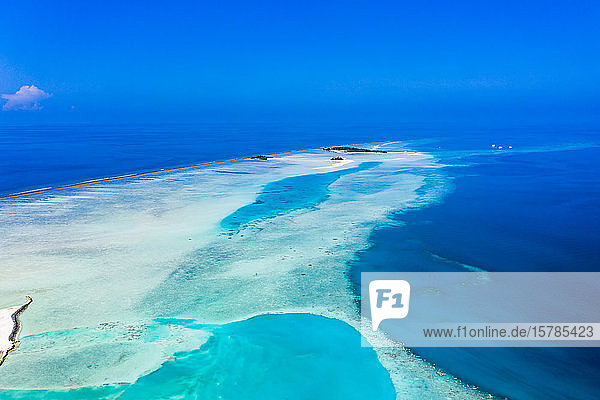 Maldives  Aerial view of coral reef in South Male Atoll