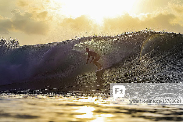 Surfer at sunset  Bali  Indonesia