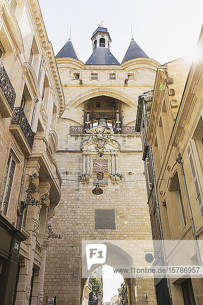 France  Gironde  Bordeaux  Low angle view of Grosse Cloche medieval gate