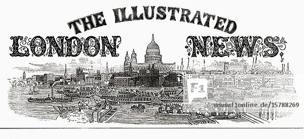 Masthead of The Illustrated London News. The news magazine was launched in 1842 and stopped publication in 2003.