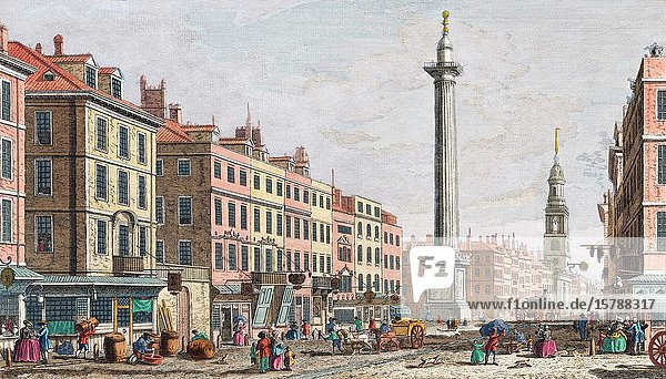 A view of the Monument erected in memory of the dreadfull fire in the year 1666. London  England. After a print dated 1752 from a work by Caneletto. Published by Robert Sayer. Later colourization.