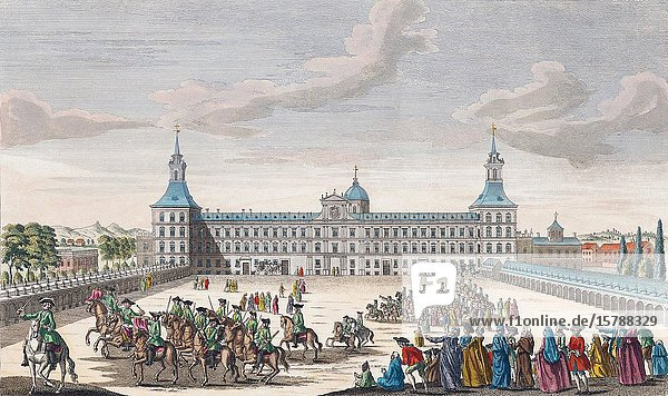 A view of the royal palace of his Catholic Majesty the King of Spain  Madrid. Hand coloured engraving dated 1752.