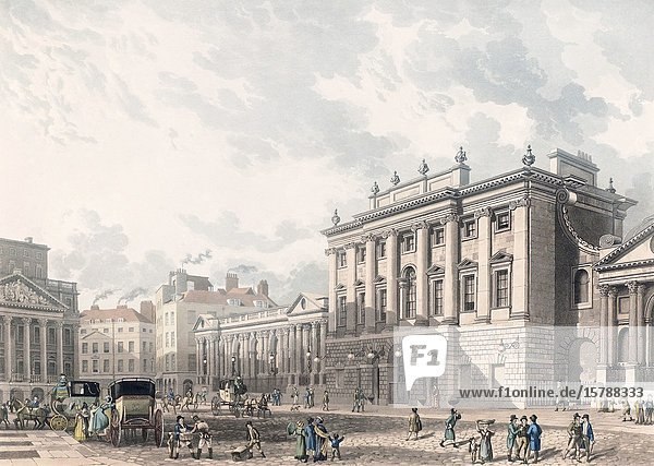 A View of the Bank of England  London  in the early 19th century. From an engraving by Daniel Havell dated 1816  after Thomas Homer Shepherd.