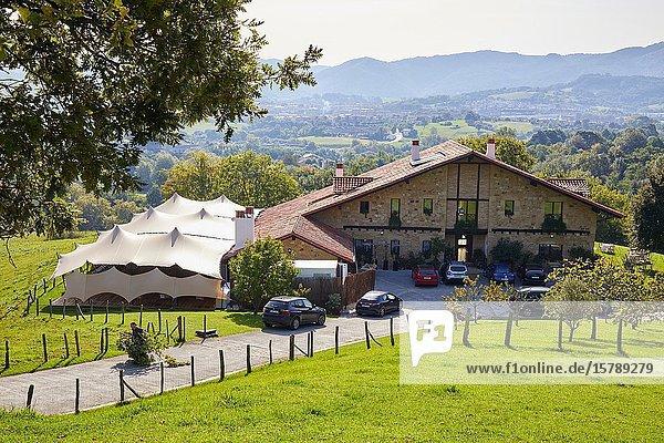 Typical Basque farmhouse  Tense tent  Event Celebration  Hondarribia  Gipuzkoa  Spain