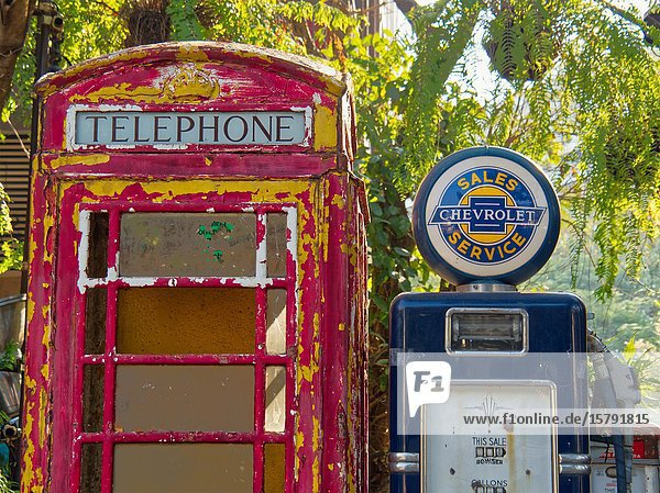 Old gasoline pump and telephone booth  Chiang Mai  Thailand.