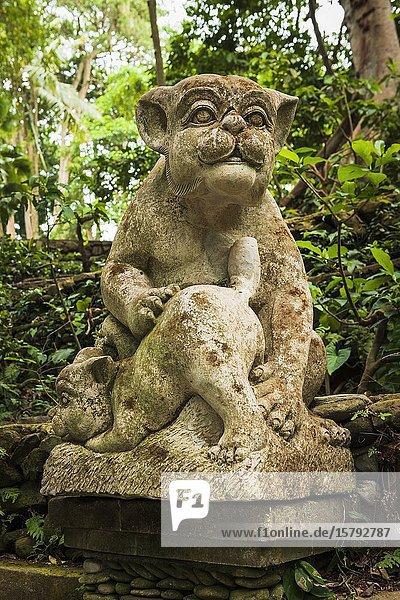 Statue at the Sacred Monkey Forest Sanctuary  Ubud  Bali  Indonesia.