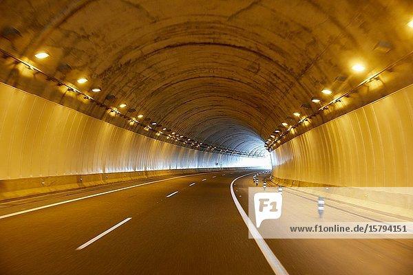 Highway tunnel  Gipuzkoa  Basque Country  Spain  Europe