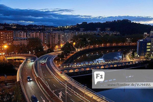 Viaduct over the Real Sociedad bridge  Urumea River  Donostia  San Sebastian  Gipuzkoa  Basque Country  Spain  Europe