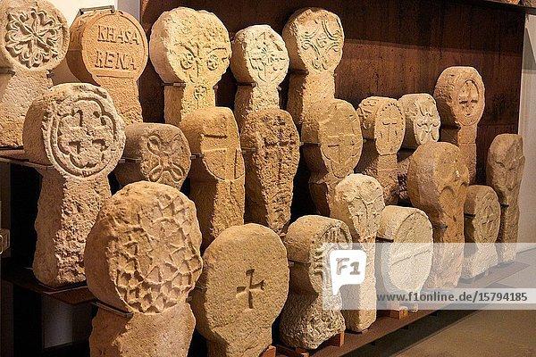 Funerary steles  San Telmo Museum  Donostia  San Sebastian  Gipuzkoa  Basque Country  Spain  Europe