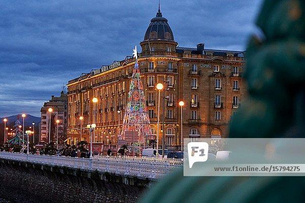 Maria Cristina Hotel  Christmas lights  Donostia  San Sebastian  Gipuzkoa  Basque Country  Spain  Europe