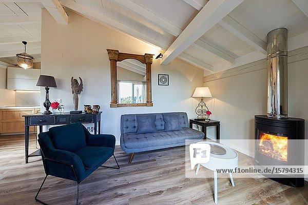 Living room  Apartment in rural house  Deba  Gipuzkoa  Basque Country  Spain  Europe