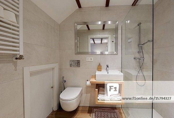 Bathroom  Apartment in rural house  Deba  Gipuzkoa  Basque Country  Spain  Europe
