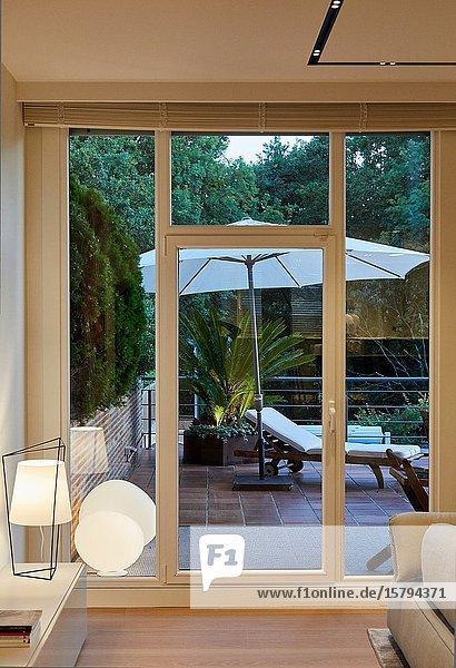 Living room  Terrace  Family house  Villa  Donostia  San Sebastian  Gipuzkoa  Basque Country  Spain  Europe