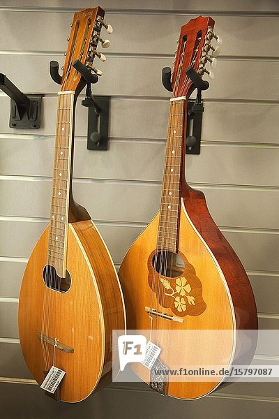 Traditional music instruments like mandolin in the music shop at the town center  Rethymno  Rethymno Province  Crete  Greek Islands  Greece  Europe
