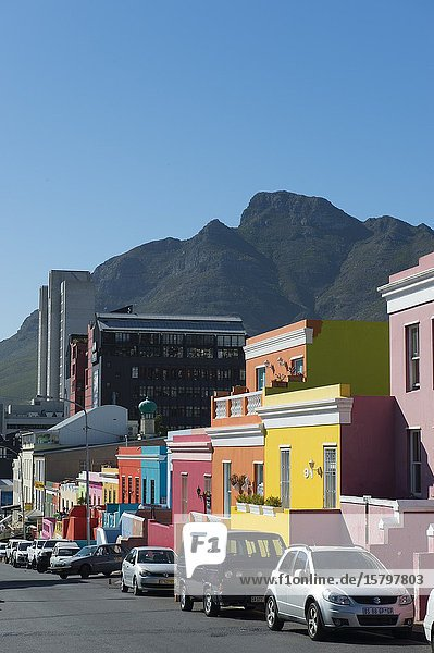 Brightly colored houses in the Bo-Kaap (Upper Cape) neighborhood of Cape Town  South Africa formerly known as the Malay Quarter.