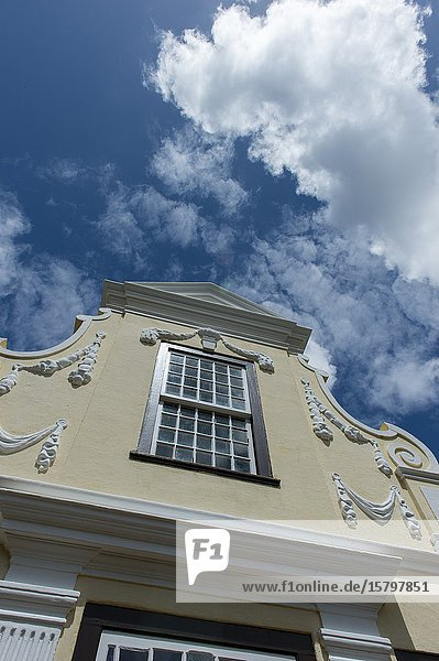 Detail of the Dutch colonial architecture of the old homestead at Vergelegen  a historic wine estate in Somerset West  in the Western Cape province of South Africa near Cape Town.