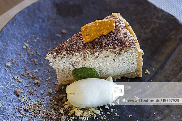 Peppermint Crisp desert with coconut cake at the La Petite Ferme  (restaurant and luxurious accommodations) in the Franschhoek Valley  Stellenbosch region  Western Cape Province of South Africa near Cape Town.