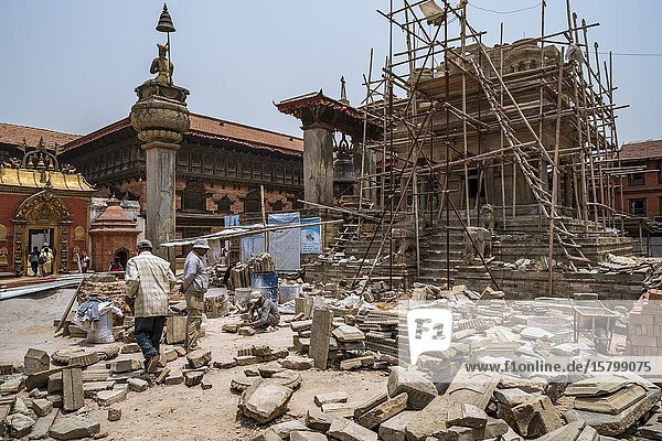 Vatsala Devi Temple at Durbar Square in Bhaktapur  being restorated after 2015 earthquake. Nepal.