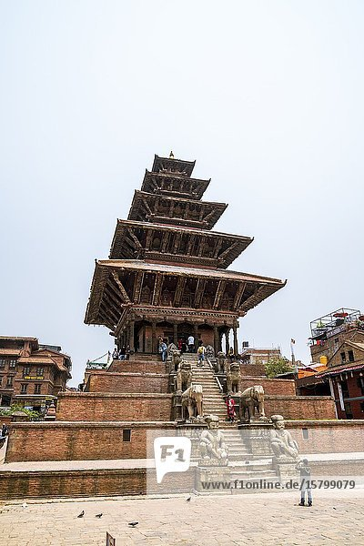 The highest pagoda of Nepal - 5-tier Nyatapola Temple - in Bhaktapur  Kathmandu valley  Nepal.