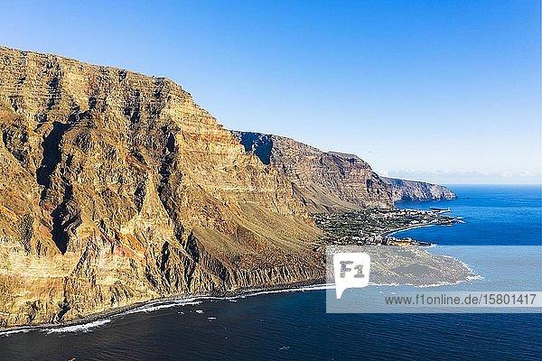 Berg Riscos de La Merica  Valle Gran Rey  Luftbild  La Gomera  Kanaren  Spanien  Europa