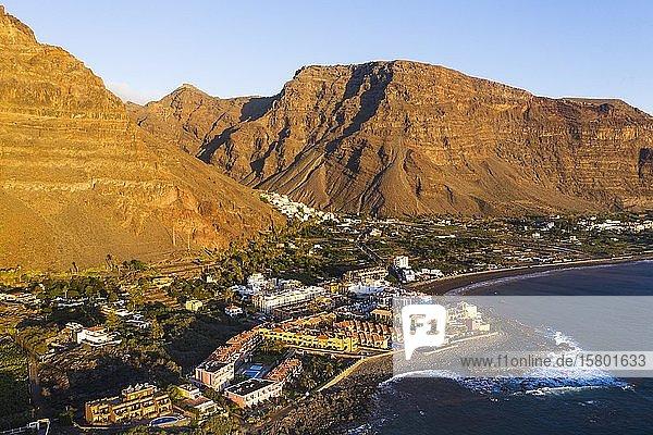La Playa und La Calera  Valle Gran Rey  Luftbild  La Gomera  Kanaren  Spanien  Europa