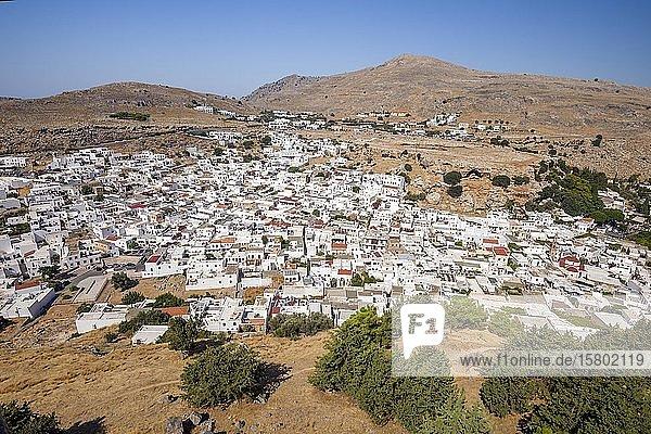 Ortsansicht  Lindos  Rhodos  Griechenland  Europa