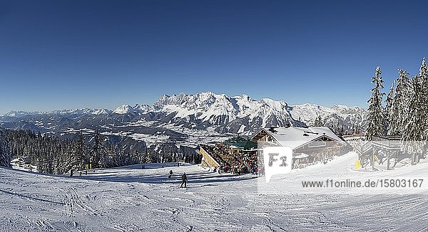 Ski area Planai with view to the Schafalm and the Dachstein massif  Schladming  Styria  Austria  Europe
