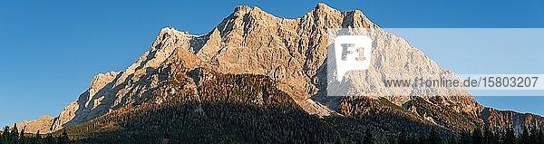 Sonnenuntergang  von der Sonne angestrahlte Zugspitze  Wettersteingebirge  Werdenfelser Land  Oberbayern  Bayern  Deutschland  Europa