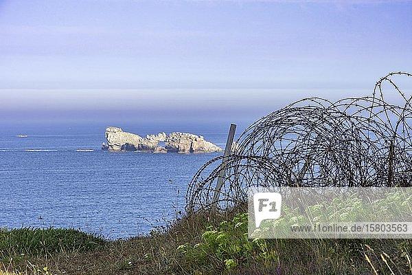 Stacheldraht und Blick auf kleine Insel im Meer beim Atlantic Battle Memorial Museum  Camaret-sur-Mer  Département Finistère  Frankreich  Europa