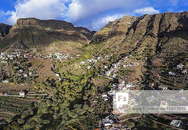 La Vizcaina  Valle Gran Rey  Luftaufnahme  La Gomera  Kanaren  Spanien  Europa