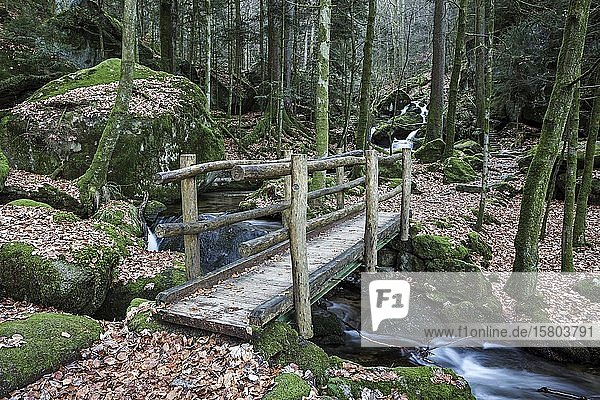 Holzbrücke über Gertelbach  Gertelbach-Wasserfälle  Gertelbachfälle  Gertelbachschlucht  Bühl  Bühlertal  Nordschwarzwald  Schwarzwald  Baden-Württemberg  Deutschland  Europa