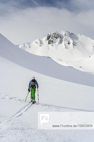 Skitourengeher im Schnee  Mölser Sonnenspitze  Wattentaler Lizum  Tuxer Alpen  Tirol  Österreich  Europa