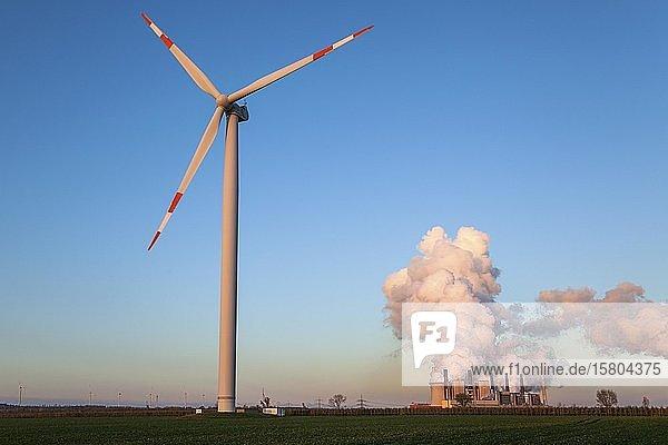 Windkraftanlage im Abendlicht  hinten RWE Power AG  Kraftwerk Neurath  Braunkohlekraftwerk  dampfende Schlote  Kohleausstieg  bei Neurath  Rheinisches Braunkohlerevier  Nordrhein-Westfalen  Deutschland  Europa