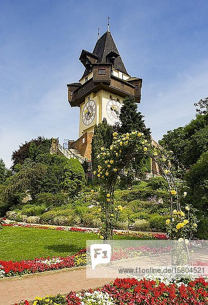 Rose garden on the Schlossberg with clock tower  Graz  Styria  Austria  Europe