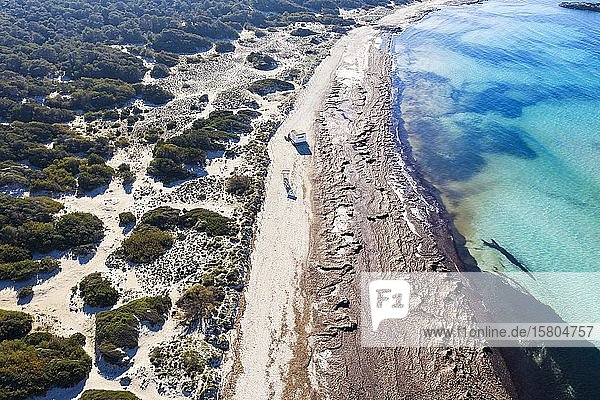 Strand Es Trenc  Naturpark Es Trenc-Salobrar de Campos  bei Colonia Sant Jordi  Luftbild  Mallorca  Balearen  Spanien  Europa