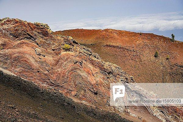 Landschaft mit roter Lava am Vulkan Martin  La Palma  Kanaren  Spanien  Europa