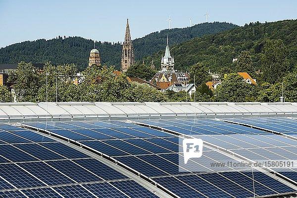 Stadtansicht mit Freiburger Münster und Photovoltaikanlage  Freiburg im Breisgau  Schwarzwald  Baden-Württemberg  Deutschland  Europa